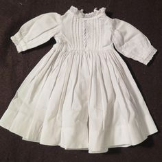 Antique White Cotton Dress for 15-16 inch Doll