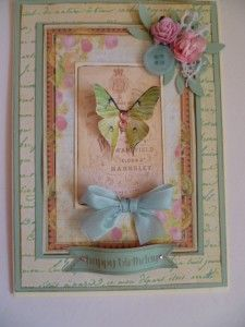 Birthday card in aqua and pinks using Gecko Galz papers and images
