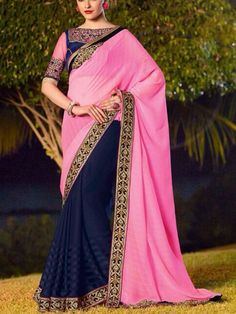 Feel the ceremonial mood draping this Faux Georgette Saree. The drape is beautified in Pink & Blue with embroidered border and pallu - See more at: http://www.akalors.in/Sarees/Pink-and-Blue-Embroidered-Faux-Georgette-Saree-with-Blouse-id-1800045.html#sthash.DqyL3otR.dpuf