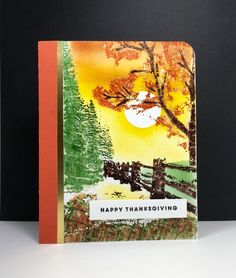 Hidden Lane: penny black, multi-layered stamping with MISTI, clear embossed then sponged, fall, by beesmom at splitcoast