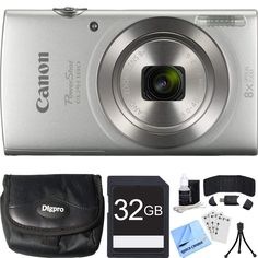 Canon PowerShot ELPH 180 Optical Zoom HD Video Silver Digital Camera Bundle with SDHC High Speed Memory Card, Point and Shoot Field Bag, Table-top Tripod and Accessories Items) Canon Powershot Elph, Canon Battery, Zoom Hd, Little Camera, Cleaning Kit, Fujifilm Instax Mini, Hd Video, Traveling By Yourself, Silver