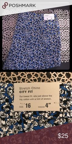 🖍✏️Back to School Sale✏️🖍Blue Floral Shorts Gorgeous blue shorts, new with tag. They are chino material and will go with a lot! J. Crew Shorts