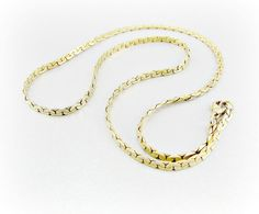 Vintage Mens Gold Chain Necklace, Flat Herringbone Chain Necklace, Gold Plated Chain, Unique Cool Mens Jewelry, 1980s Retro Modern Jewelry by RedGarnetVintage on Etsy, $25.00