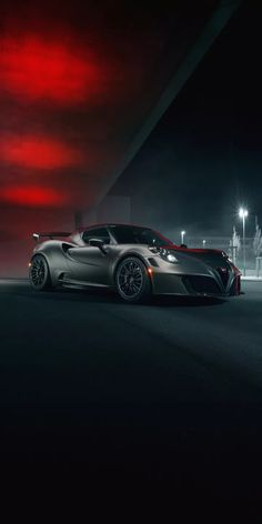 The Night Monster  The Alfa Romeo output may not sound much, but this car isn't about big headline figures. Nope, it's all about speed and agility provided via lightness. Thanks in part to its carbonfibre tub, the weighs less than a tonne. Alfa 4c, Alfa Romeo 4c, Alfa Romeo Cars, Veneno Roadster, Ferrari Fxx, Nissan Gtr R35, Porsche Sports Car, Cute Cars, Top Cars