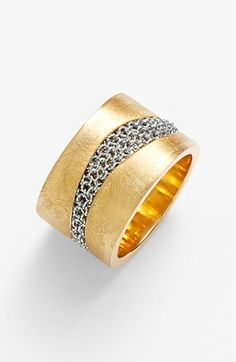 The material combination is so obvious but so unexpected.  Adami & Martucci 'Dune' Cigar Band Ring | Nordstrom