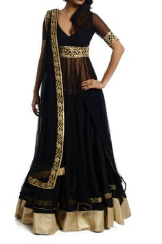 Black Embroidered Anarkali with Silk Lehenga