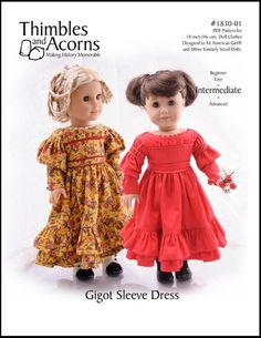 Thimbles and Acorns Gigot Sleeve Dress Doll Clothes Pattern 18 inch American Girl Dolls | Pixie Faire