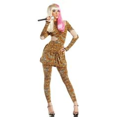 Leopard Print Rap Superstar Costume for Women ($30) ❤ liked on Polyvore…