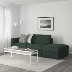 IKEA - VIMLE, Sofa, with open end, Farsta dark brown, This soft and cozy sofa will have a long life as the seat cushions are filled with high resilience foam that gives good support for your body and quickly regains its original shape when you get up. At Home Furniture Store, Modern Home Furniture, Affordable Furniture, Blue Furniture, Living Furniture, Ikea Vimle Sofa, Ikea Bank, Armoire Pax, Cosy Sofa