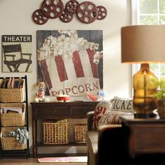 incorporate vintage flair and movie themes into your media room with unique pieces of wall decor - Media Room Decor
