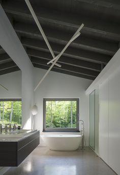 Bromont House by Paul Bernier Architecte - Design Milk Architecture Durable, Interior Architecture, Residential Architecture, Vintage Bathrooms, Modern Bathroom, White Bathroom, Spas, Home Modern, Interior Modern