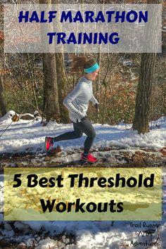 5 Best Threshold Workouts For Half Marathon Training. Half Marathon Recovery, Half Marathon Tips, Half Marathon Motivation, Half Marathons, Half Marathon Training, Marathon Running, Running Workouts, Running Tips, Fun Workouts