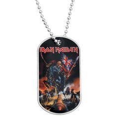 """Piastrina militare in metallo """"England"""" degli Iron Maiden. La catena della piastrina militare #IronMaiden è lunga 60 cm e la dimensione del pendente è di 3 x 5 cm circa."""