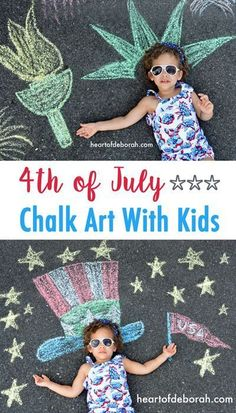 How cute is this American themed chalk art? We made this as part of our celebration for the 4th of July. Read more for ways celebrate 4th of July with kids!
