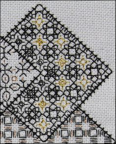 Extract from Block 3 'Save the Stitches' DMC310 black and DMC Diamant  gold metallic. Stitched by Liz www.blackworkjourney.co.uk