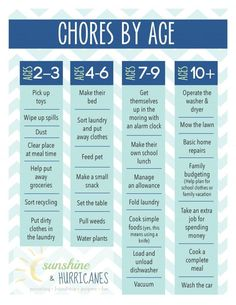 DIY Chore Charts - Printable Chore Chart for Kids by Age via Sunshine and Hurricanes