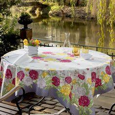 Nappe de table coton orange à fleurs, Nappe Giverny carrée 170x170 cm - Beauvillé