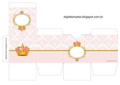 corona dorada Golden Crown in Pink: Free Printable Boxes. Baby Shower Parties, Baby Shower Themes, Baby Shower Decorations, Baby Party, Baby First Birthday, First Birthday Parties, Birthday Diy, Baby Shower Souvenirs, Box Invitations