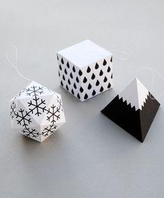 DIY Paper ornaments. B&W. modern.