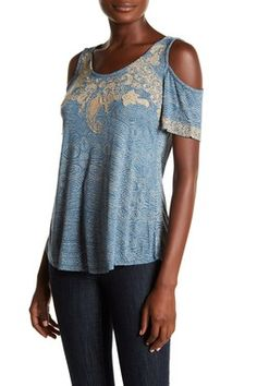 Embroidered Cold Shoulder Top