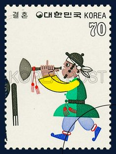 SPECAL POSTAGE STAMPS FOR KOREAN FOLKWAYS, Man playing a charinet, traditional culture, white, green, yellow, 1984 09 01, 한국풍속 결혼, 1984년 09월 01일, 1358, 악기를 불고 가는 사람, postage 우표