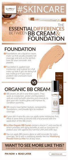 Why the fuss about BB creme? Our infographic explains the differences between the two! Beauty Tips, Beauty Hacks, Hair Beauty, Beauty Style, Fashion Beauty, Organic Makeup, Infographics, Contour, Saving Money