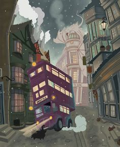 The knight bus - Harry Potter / Fantastic Beasts - Winter Fanart Harry Potter, Images Harry Potter, Mundo Harry Potter, Harry Potter Wallpaper, Harry Potter Fandom, Harry Potter World, Illustrations Harry Potter, Harry Potter Drawings, Hogwarts