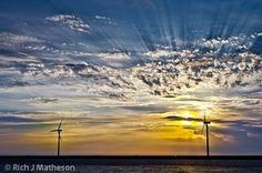 Wind turbines and sunset, Changhua, Taiwan
