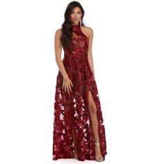 c865e781f51 Kalea Burgundy Fiery Sunset Dress ( 110) ❤ liked on Polyvore featuring  dresses