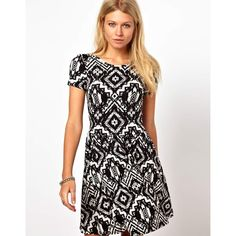ASOS Skater Dress In Aztec Print ($42) found on Polyvore