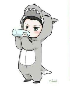 Sehun the Baby Wolf << I want this as a pin! Exo Cartoon, Baby Cartoon, Kpop Exo, Sehun Chibi, Kpop Fanart, Exo Stickers, Exo Anime, Exo Fan Art, Exo Luxion