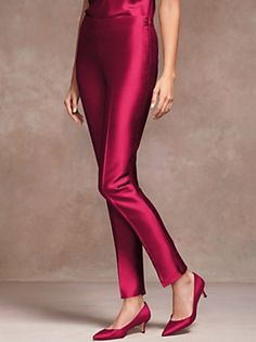 Talbots - Signature Fit Doupioni Ankle Pant, just one of their new Party Pants with fun prints + dressy & casual solids. Formal Pants, Silk Pants, Ankle Pants, Fashion Details, Talbots, Style Inspiration, Fashion Outfits, Clothes For Women, Dresses
