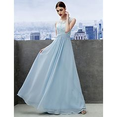 TS+Couture®+Formal+Evening+Dress+A-line+Scoop+Floor-length+Chiffon+/+Lace+with+Lace+–+CAD+$+152.89