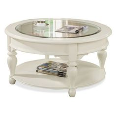 Shabby Chic Round White Coffee Table Idea with Glass Combined Wood Top and Lower Shelf for Magazines also Wood Carving Legs Ornaments