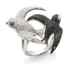 Rarities 18K Gold 1.47ct Black, White Diamond Bird Ring