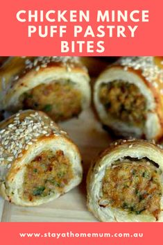 Chicken Mince Puff Pastry Bites - Stay at Home Mum - cooking - Sausage Rolls Puff Pastry, Chicken Sausage Rolls, Puff Pastry Pizza, Sausage Meals, Mince Recipes, Appetizer Recipes, Snack Recipes, Cooking Recipes, Savoury Recipes
