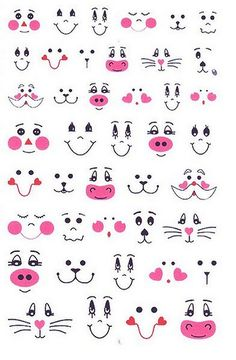 Patterns for cute animal faces... Fun for Easter egg decorating.