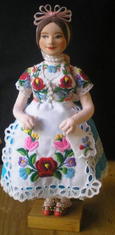 2f42a7517c Original handmade china doll from Uszód, Hungary. Hand-embroidered blouse  and apron;