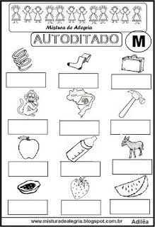 Autoditado para alfabetização com a letra M Portuguese Lessons, School Lessons, Fathers Day, Homeschool, Language, Writing, Reading, Gabriel, Pikachu