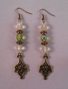 Glass Bead and Pendant Drop Earrings