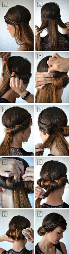 Hochsteckfrisuren mittellange Haare Haarband