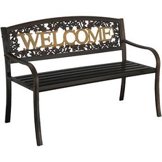 Leigh Country Bench, Black/Gold, Welcome  design, Outdoor Backyard Patio Garden