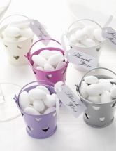 Tin Favour Pails - These cute tin favour pails are a fantastic alternative towedding favour boxes or organza favour bags for your wedding favours. Fill them with chocolate hearts or sugared almonds and accessorise with ribbon and a luggage tagto matchyour colour scheme.