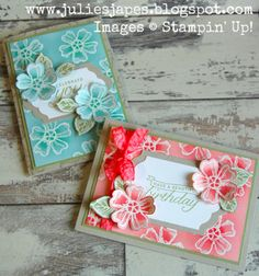 Julie Kettlewell - Stampin Up UK Independent Demonstrator - Order products 24/7: Birthday Blossoms Embossed Video Tutorial