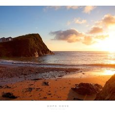 'Hope Cove, Devon' Poster by Andrew Roland Jacques Yves Cousteau, Cornish Coast, South West Coast Path, Jurassic Coast, South Devon, Dartmoor, Travel England, Medieval Town, Sandy Beaches