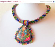 CIJ SALE Beadwork Bead Embroidery Pendant Necklace with by lutita, $85.00
