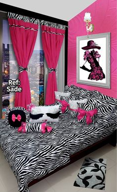 Ref: Sade 🎀  Disponible en cortinas, cojines, juegos de baño y sábanas en todas las medidas. #Sade #Dalotex #Lenceria #Hogar #Sabanas #moda #colors #SabanasDalotex #Rosa #AnimalPrint #Black #Chic #Fashion Teen Bedroom Designs, Bedroom Images, Kids Bedroom, Bed Cover Design, Cushion Cover Designs, Draps Design, Zebra Print Bedding, Purple Bedroom Decor, Designer Bed Sheets