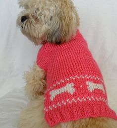 Pink Small Dog Sweater  Medium with bones by InspiredByMocha, $20.50