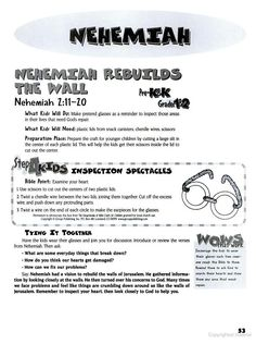 Lesson plans for Nehemiah from The Encyclopedia of Bible Crafts for Children - Group Publishing - Google Books