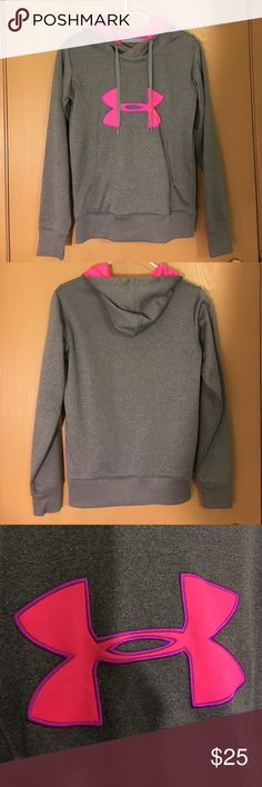 Under Armour Sweatshirt ▪️UA ColdGear semi-fitted sweatshirt. Women's size XS. Heather grey & bright pink. 100% polyester. Made in Jordan. Only worn 3-4 times. In excellent condition!▪️ Under Armour Tops Sweatshirts & Hoodies